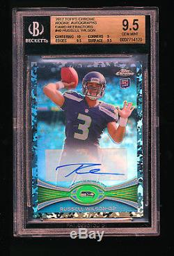 1/1 Bgs 9.5 Russell Wilson 2012 Topps Chrome Camo Refractor Auto Jersey #d 3/105