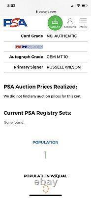 1/1 PSA 10 2012 Panini Prizm SILVER Towel Down #230 Russell Wilson Rookie AUTO
