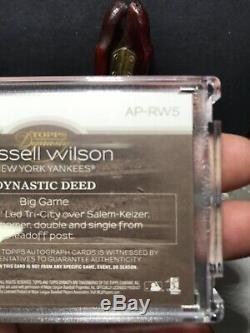 #1/5 Russell Wilson 2018 Topps Dynasty Autograph Patch Encased Yankees Auto