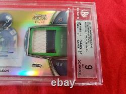 2012 Bowman Sterling Gold Refractor Russell Wilson ROOKIE PATCH AUTO 04/66 BGS 9