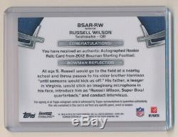 2012 Bowman Sterling Gold Refractors #BSARRW Russell Wilson Auto Jersey /66