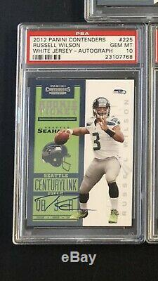 2012 Contenders RPS Russell Wilson White Jersey Gem Mint 10 Rookie Auto