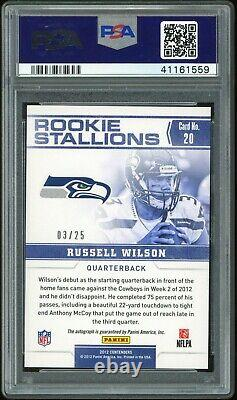 2012 Contenders Rookie Stallions Russell Wilson RC AUTO 3/25 PSA 10 1/1 Jersey #