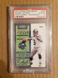 2012 Contenders Rookie Ticket White Jersey Russell Wilson RC AUTO SP /25 PSA 10