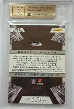 2012 Crown Royale Russell Wilson Patch Auto Bgs 9.5 7/99 Seahawks Rookie