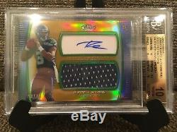 2012 Finest Russell Wilson RC Gold Patch Auto Jersey#/75 Graded BGS 10 PRISTINE