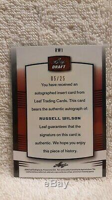 2012 Leaf Metal Draft Blue #RW1 RUSSELL WILSON AUTO rookie RC #05/25 Autograph