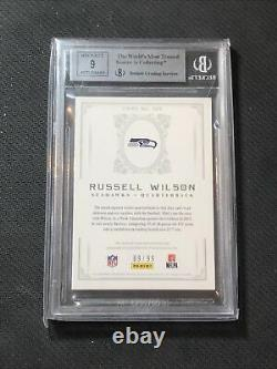 2012 NATIONAL TREASURES RUSSEL WILSON ROOKIE AUTO PATCH #ed 69/99 BGS 9 MINT