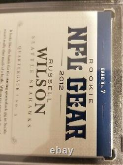 2012 National Treasures NFL Gear Russell Wilson 4 Patch On Card Auto Rc #'d 9/15