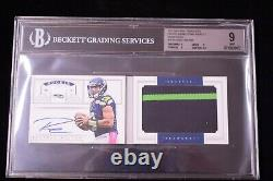 2012 National Treasures Russell Wilson RC AUTO Jumbo Patch BGS 9/10 #29 38/99