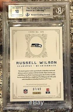 2012 National Treasures Russell Wilson RC EAGLE EYE PATCH BGS 9 with RARE 10 AUTO