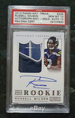 2012 National Treasures Russell Wilson Rpa Rc #/49, Impossible Psa 10, Auto 10