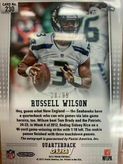 2012 PANINI PRIZM Russell Wilson #230 Prizm Auto RC Seahawks 28/99 BGS 9.5