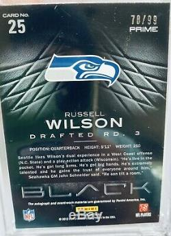 2012 Panini Black Russell Wilson Prime rookie auto patch Gold /99 Seahawks MVP