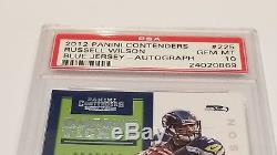 2012 Panini Contenders Blue Jersey Russell Wilson Auto RC PSA 10 Card #225