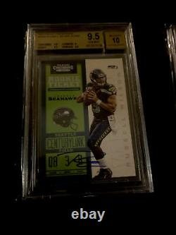 2012 Panini Contenders Russell Wilson Blue Jersey AUTO ROOKIE #225. BGS 9.5/10