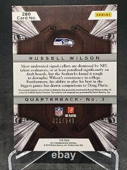 2012 Panini Crown Royale Russell Wilson Auto Patch RC /349 MVP