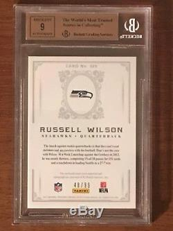 2012 Panini National Treasures Russell Wilson RPA RC Patch #/99 BGS 9.5 Auto 9