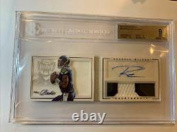 2012 Panini Playbook Rookie Jersey Auto 3 Color Patch BGS 9 Russell Wilson Auto