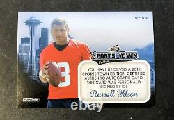 2012 Press Pass Russell Wilson Rookie Sports Town Auto Foil #/125 Red Ink NM-MT+