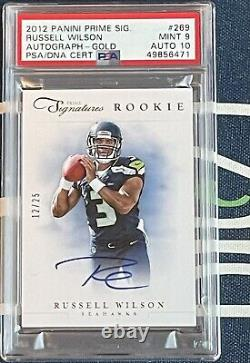 2012 Prime Signatures Russell Wilson Rookie AUTO RC GOLD 12/25 PSA 9/10 MINT