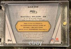 2012 RC Russell Wilson Topps Supreme Blue Relic & Auto Card SAR-RW 4/25