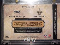 2012 RUSSELL WILSON / NICK TOON 5 STAR 1/1 DUEL LAUNDRY TAG withAUTO's GO HAWKS