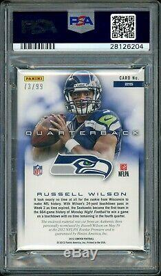 2012 RUSSELL WILSON Panini Limited Auto Rookie Card PSA Autographed RC #/99