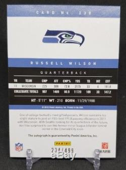 2012 Rookie Prestige Auto Russell Wilson Autograph /499 Seahawks RC #238