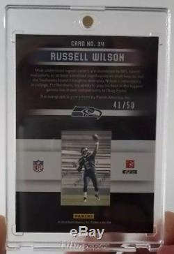 2012 Rookies Stars RUSSELL WILSON Slideshow Rookie Premiere Relic RC Auto SP /50