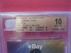 2012 Russell Wilson /25 BGS 10 PRISTINE Leaf Valiant Stars Purple non auto #S3