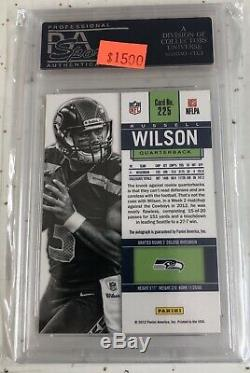 2012 Russell Wilson Auto Psa 10 #225 Panini Contenders Rookie Ticket Autograph