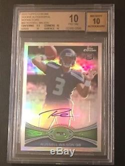 2012 Russell Wilson Auto RC Pristine BGS 10/ 10 Topps Chrome Refractor #/178