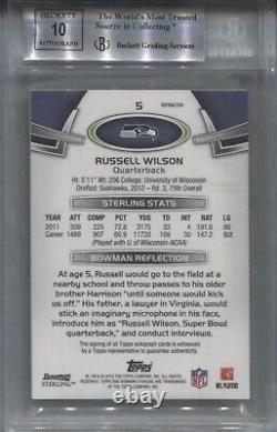 2012 Russell Wilson Bowman Sterling AUTO BLACK REFRACTOR ROOKIE Rc #/50 BGS 9/10