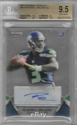 2012 Russell Wilson Bowman Sterling Auto RC. BGS 9.5 Gem Mint with10 auto