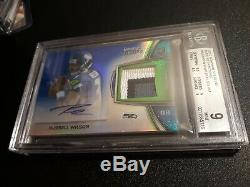2012 Russell Wilson Bowman Sterling blue Refractor Auto #/99 Seahawks BGS 9/10
