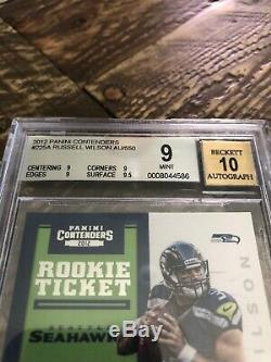 2012 Russell Wilson Contenders On Card Auto Rc Bgs 9 Mint Autograph 10