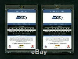 2012 Russell Wilson Panini Prestige Rookie RC Auto /499 Seahawks 2 Card Lot