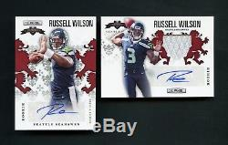 2012 Russell Wilson Panini Rookies & Stars RC Patch Auto /49 /199 2 Card Lot