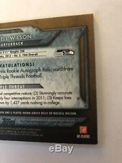 2012 Russell Wilson Rookie Autograph Auto Signed Topps Triple Threads 31/75