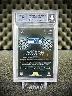 2012 Russell Wilson Rookie Card Auto Panini Black /349 BGS 9 AUTO 10