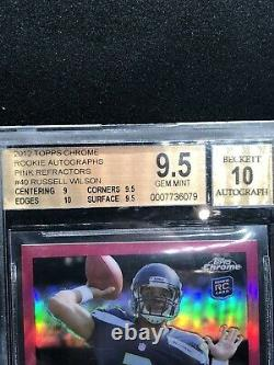 2012 Russell Wilson Topps CHROME PINK REFRACTORS RC AUTO BGS 9.5/10 30/75 Sub 10