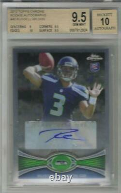 2012 Russell Wilson Topps Chrome Auto RC. BGS 9.5 Gem Mint with10 sub