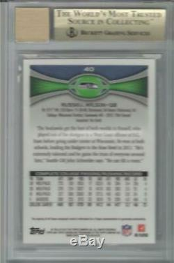 2012 Russell Wilson Topps Chrome Auto RC. Graded BGS 10 Pristine