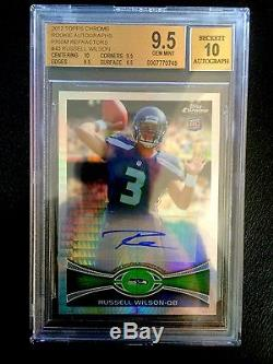 2012 Russell Wilson Topps Chrome Prism Refractor Rc #3/50 1/1! Bgs 9.5/10 Auto