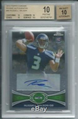 2012 Russell Wilson Topps Chrome auto BGS 10 Pristine RC