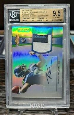 2012 Russell Wilson Topps Finest Rookie Patch Auto Refractor BGS 9.5 #52/250
