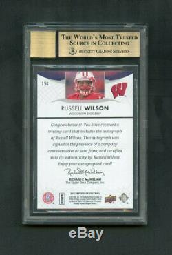 2012 Russell Wilson Upper Deck Star Rookies RC Auto #134 BGS 9.5/10 GEM
