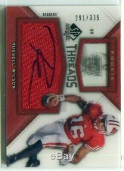 2012 SP Authentic Threads Autograph RW Russell Wilson Rookie Jersey Auto 291/335