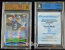 2012 TOPPS CHROME RUSSELL WILSON AUTO RC PRISM SSP BGS 9.5/10 07/50 w REDEMPTION